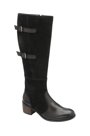 Ravel Black Leather Knee High Boots