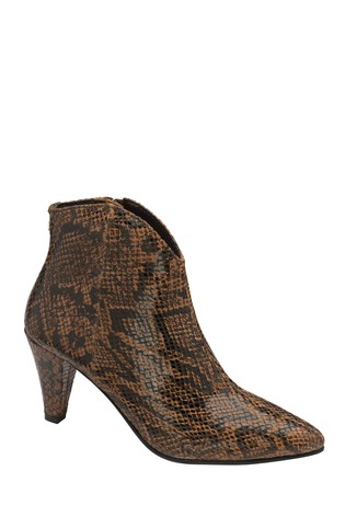 Ravel Brown Printed Leather Ankle Boots