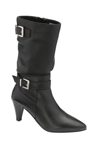 Ravel Black Milled Leather Mid Calf Boots