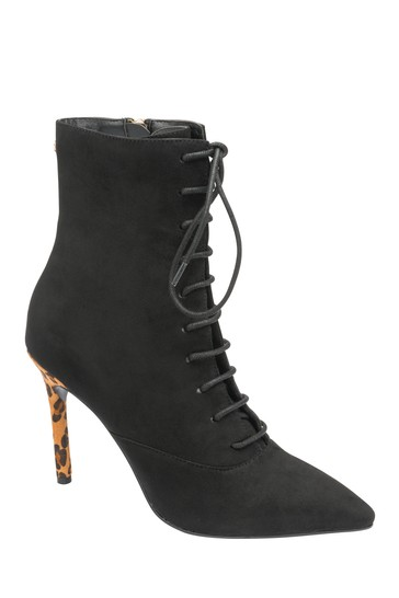 Ravel Black Leopard Print Stiletto Heel Boots