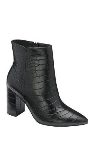 Ravel Black Croc Print Ankle Boots
