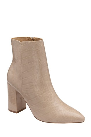 Ravel Grey Croc Print Ankle Boots