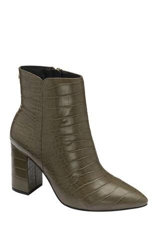Ravel Khaki Croc Print Ankle Boots
