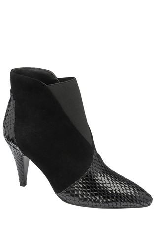 Ravel Black Snake Print Stiletto Heel Boots