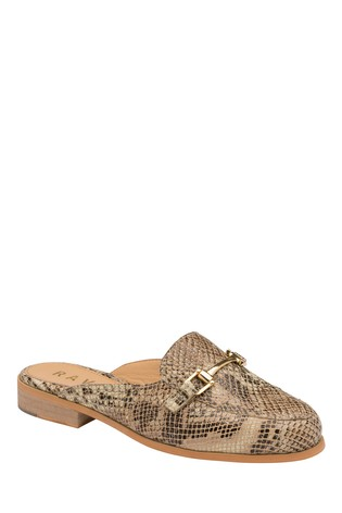 Ravel Brown Snake Print Leather Loafers