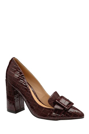 Ravel Burgundy Printed Block Heel Court Shoes