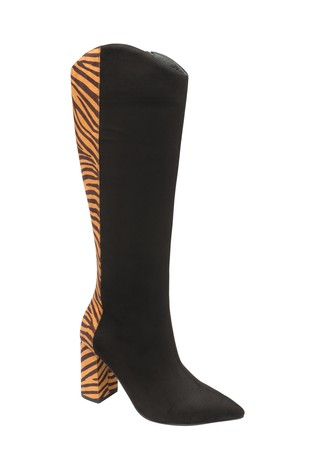 Ravel Black Zebra Knee High Boots