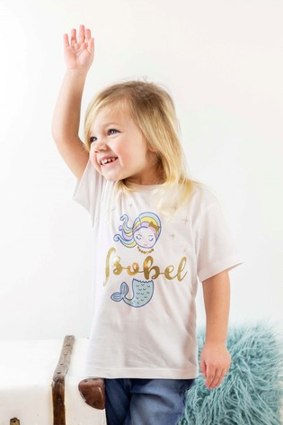 Personalised Organic Cotton Glitter Mermaid T- shirt By Percy & Nell
