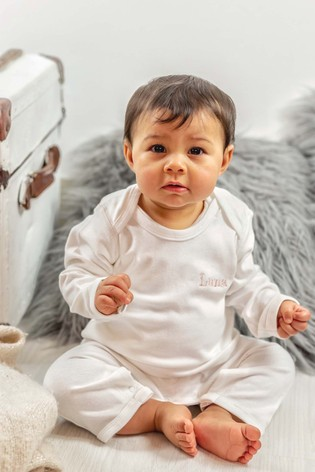 Personalised Organic Cotton Embroidered Babygrow by Percy & Nell