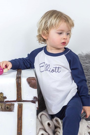 Personalised Blue/White Organic Cotton Baby and Toddler's Pyjamas By Percy & Nell