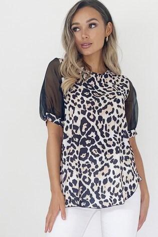 Quiz Leopard Print Mesh Sleeve Top