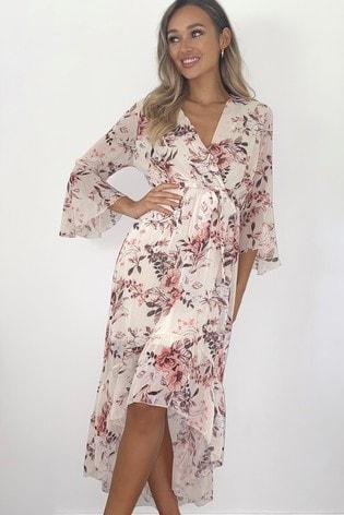 Quiz Floral Frill Midi Wrap Dress