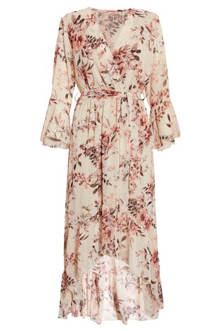 B101 NEUF RRP £ 26.99 Quiz Rose Crepe Frill Hem Midi Robe