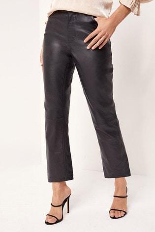 Lipsy Black Leather Slim Straight Jean