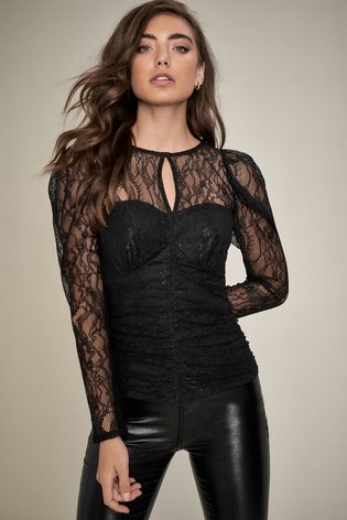 Lipsy Black Ruched Top