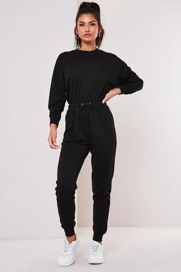 Missguided Black Drop Shoulder Draw String Waist Jumpsuit