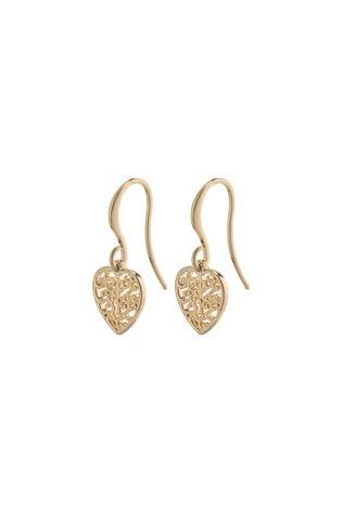 PILGRIM Gold Felice Plated Heart Earrings