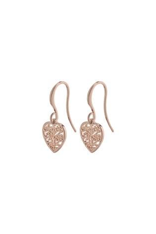 PILGRIM Rose Gold Felice Plated Heart Earrings
