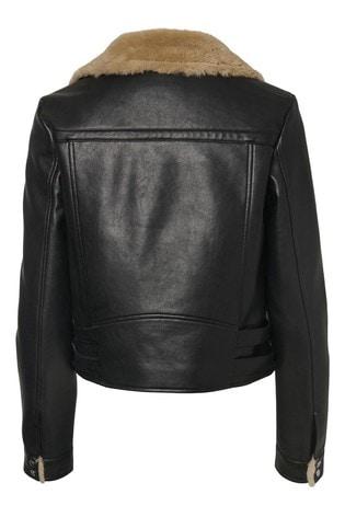 Vero Moda Black Teddy Lined Faux Fur Jacket