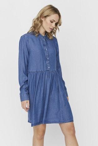 Vero Moda Blue Denim Shirt Dress