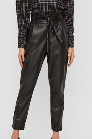 Vero Moda Black High Waisted Faux Leather Paperbag Trouser