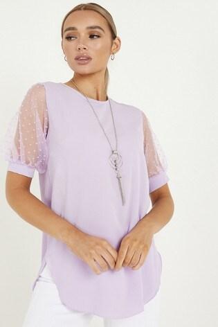 Quiz Polka Dot Puff Sleeve Necklace Top