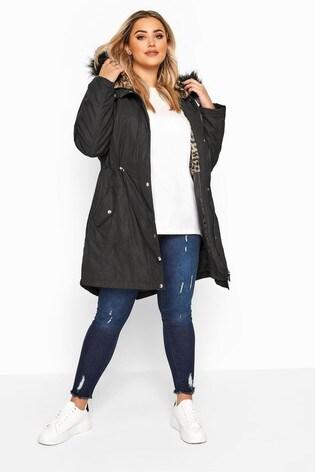 Yours Curve Animal Fur Parka Jacket