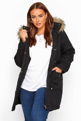 Yours Curve Faux Fur Trim Parka Jacket