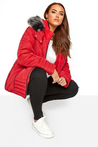 Yours Red Curve Panelled Padded Jacket