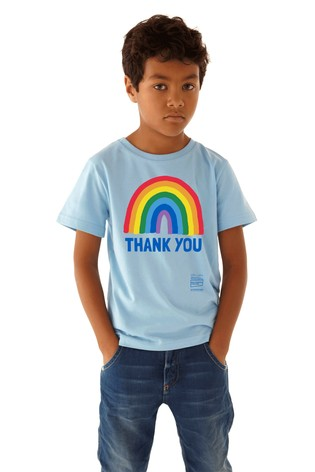 Little Mistress x Blue Kindred Rainbow Thank You NHS Kid's T-Shirt by Instajunction