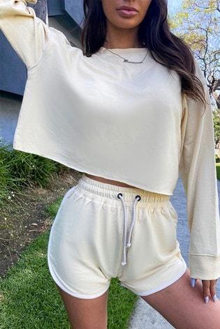 In The Style Francesca Farago Cropped Contrast Binding Sweatshirt