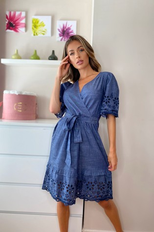 Lipsy Denim Broderie Dress