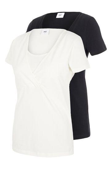 Mamalicious Black Maternity Nursing Organic Short Sleeve Top - Pack of 2