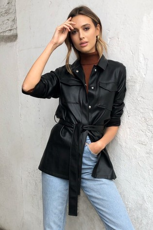 Lipsy Black Faux Leather Belted Shirt