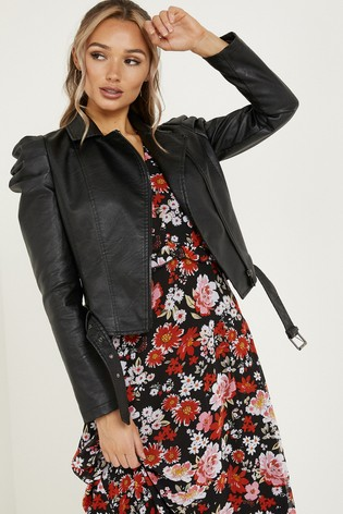 Quiz Faux Leather Puff Sleeve Jacket