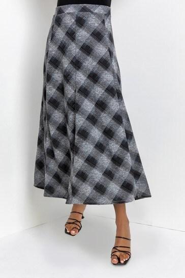 Roman Grey Check Print Flared Midi Skirt