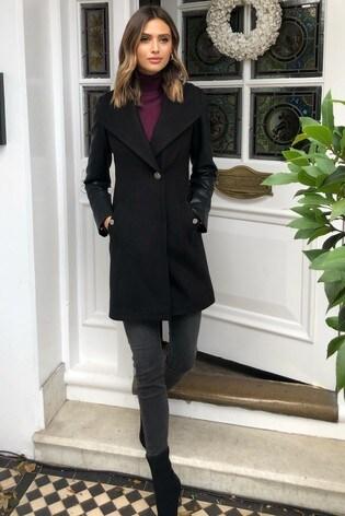 Lipsy Black Faux Leather Sleeve Coat