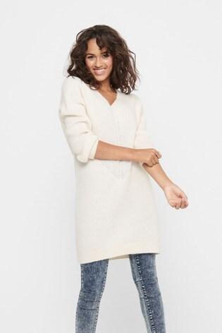 Only White V neck Knitted Jumper Dress