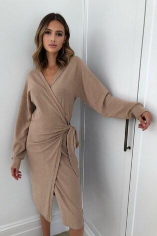 Lipsy Camel Cosy Wrap Midi Dress