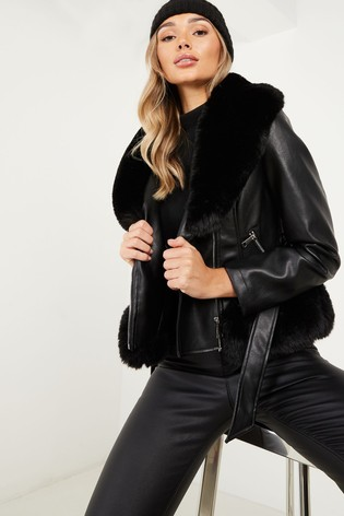Quiz Biker Jacket With Faux Fur