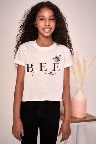 Lipsy White Bee Kind Foil Print Tee