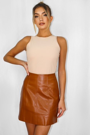 Missguided Brown Faux Leather Panel Detail Mini Skirt
