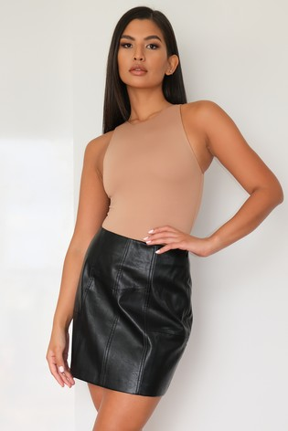 Missguided Black Faux Leather Panel Detail Mini Skirt