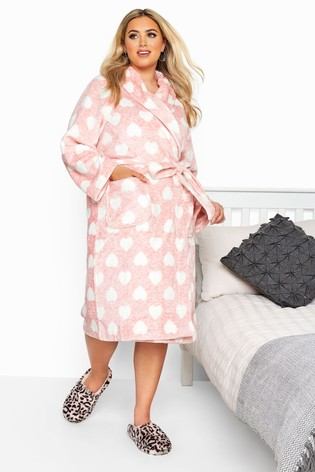 Yours Pink Curve Printed Marl Heart Robe