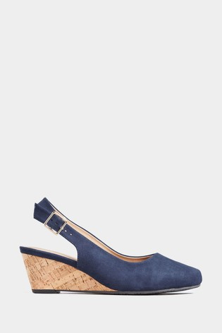 Yours Extra Wide Fit Slingback Cork Wedges
