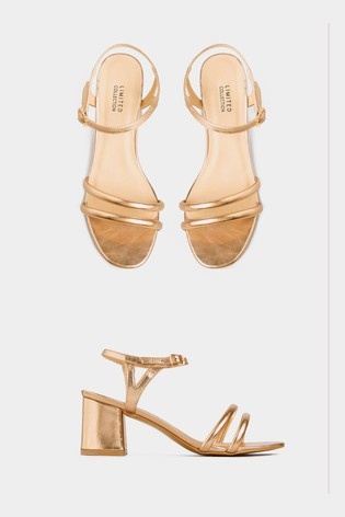 Yours Gold Curve Lively Double Strap Sandals