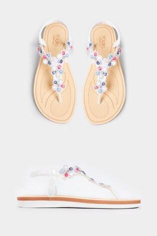 Yours Extra Wide Fit Shimmer Diamanté Flower Sandals
