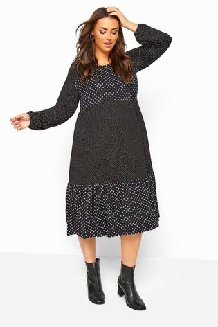 Bump It Up Black Maternity Polka Dot Tiered Midi Dress