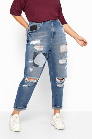 Yours Blue Curve Extreme Ripped Patch Mom Jeans