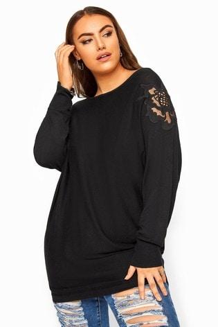 Yours Black Curve Lace Shoulder Knitted Jumper